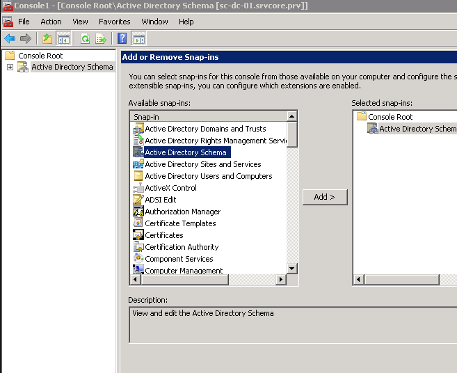 How to create an active directory schema snap in it core blog step by step description create a custom mmc with active directory schema snap in adding active directory schema snap in to the administrative tools yelopaper Images